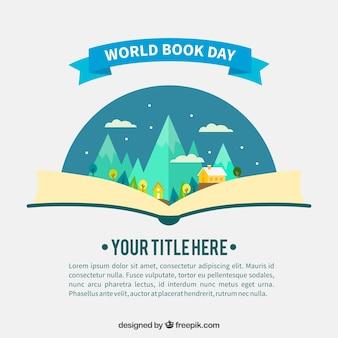 Flat achtergrond met open boek en groot landschap