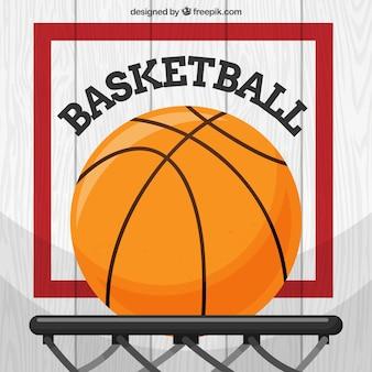 Flat achtergrond van basket bal in de mand