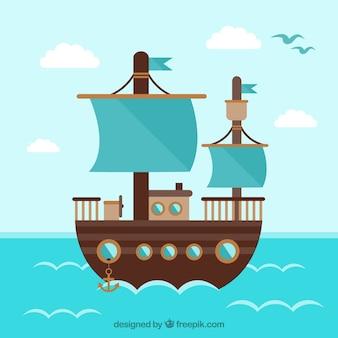 Flat achtergrond van de houten boot