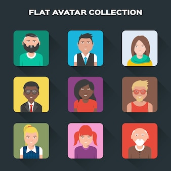 Flat avatar collectie