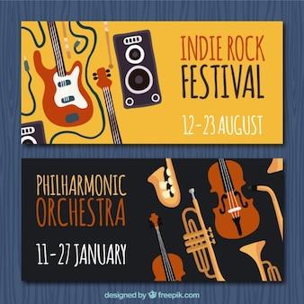 Flat banners met muziekinstrumenten