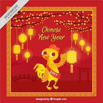Flat Chinees Nieuwjaar achtergrond met glanzende lantaarns en haan