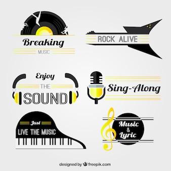 Flat collectie van muziek stickers met gele details