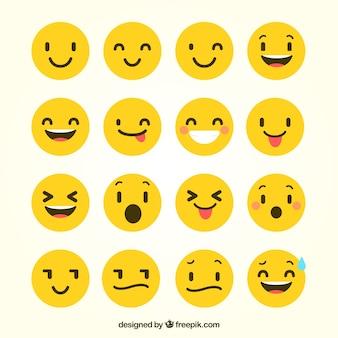 Flat emoticons met grappige gebaren