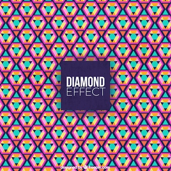 Flat gekleurde achtergrond met diamant effect