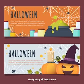 Flat halloween banners met heks elementen