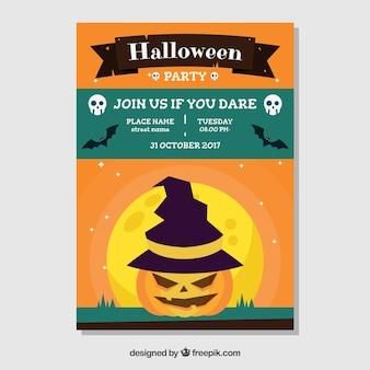 Flat halloween feest poster met pompoen