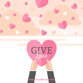 Flat harten achtergrond met liefde bericht
