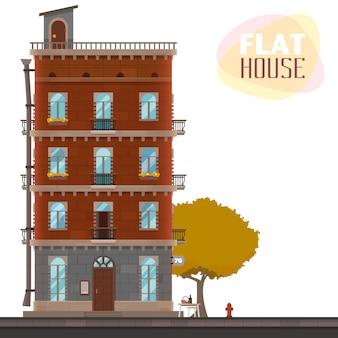 Flat huis ontwerp op witte achtergrond