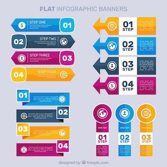 Flat infographic banner pak