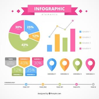 Flat infographic elementen met fantastische kleuren