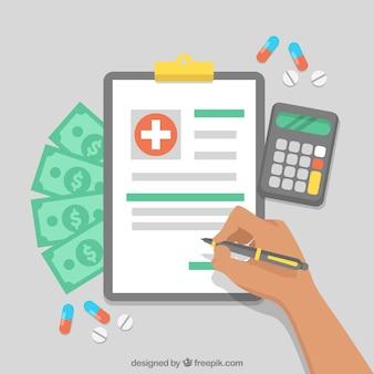 Flat klembord, geld en rekenmachine