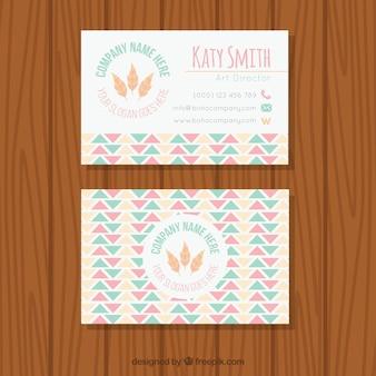 Flat pastel visitekaartje in de boho-stijl