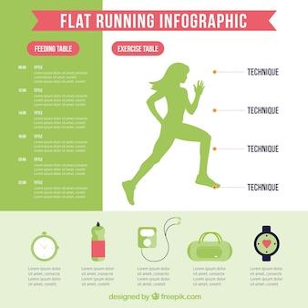 Flat running infographic