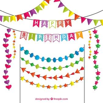 Flat selectie van de verjaardag van slingers