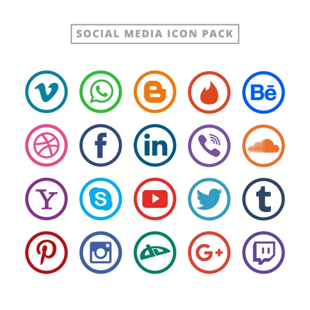 Flat social media logo collectie