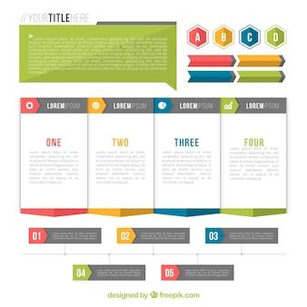 Flat verzameling van nuttige elementen voor infographics