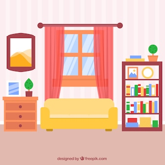 Flat woonkamer met gestreepte muur en roze gordijnen