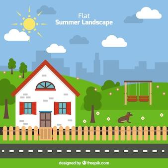 Flat zomer landschap met een leuk huis achtergrond