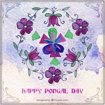 Floral aquarel happy pongal dag achtergrond