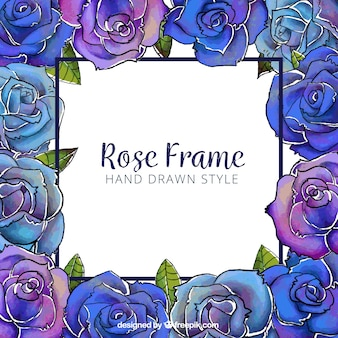 Floral frame in blauwe en paarse tinten