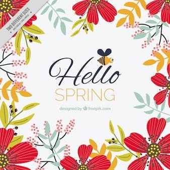 Floral voorjaar achtergrond met decoratieve rode bloemen