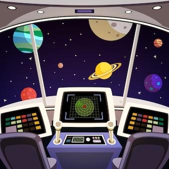 Flying ruimteschip cabine futuristische interieur cartoon met ruimte achtergrond vector illustratie