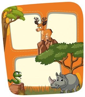Frame sjabloon met wilde dieren