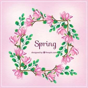 Frame van de lente met waterverf bloemen