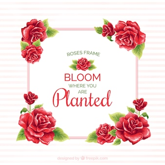 Frame van rode rozen met waterverf bericht