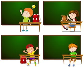 Frames met jongens en meisjes illustratie