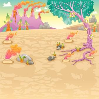 Funny prehistorische landschap Vector en cartoon illustratie