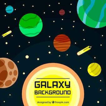 Galaxy achtergrond met planeten en sterren