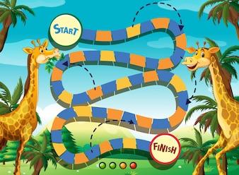Game sjabloon met giraffe in de jungle achtergrond illustratie