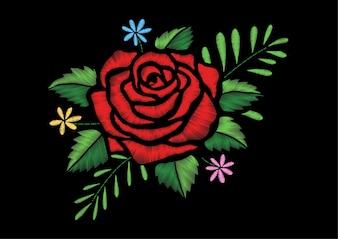 Geborduurd roosontwerp