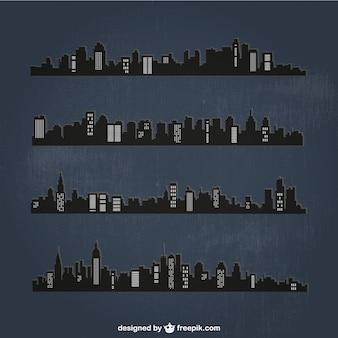 Gedetailleerde steden silhouetten in de nacht