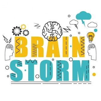 Geel en blauw brainstorming achtergrond