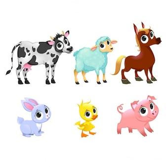 Geïsoleerd Grappige boerderijdieren Vector stripfiguren