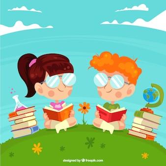 Gekleurde achtergrond met kinderen lezen