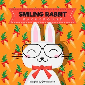 Gekleurde achtergrond van lachend konijn
