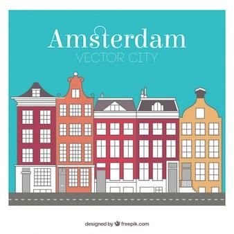 Gekleurde Amsterdam stadsgebouwen