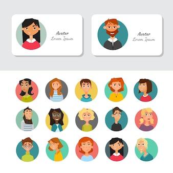 Gekleurde avatars voor het visitekaartje