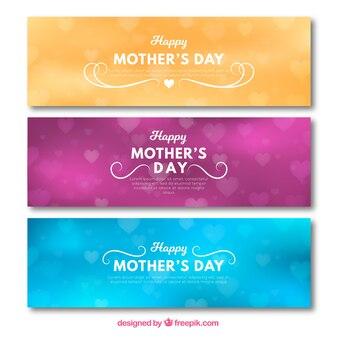 Gekleurde banners met bokeh effect voor moederdag