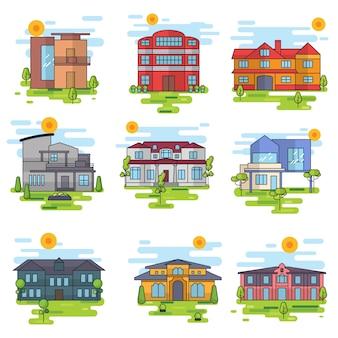 Gekleurde gebouwen collectie