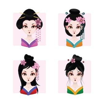 Gekleurde geisha's verzameling
