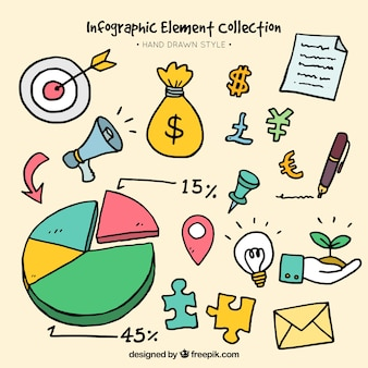Gekleurde infographic elementen in de hand getekende stijl