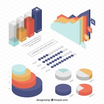 Gekleurde pak infographic grafieken in isometrisch ontwerp