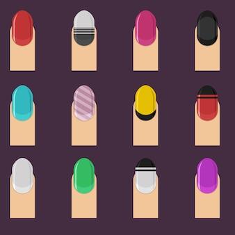 Gekleurde spijkers collectie