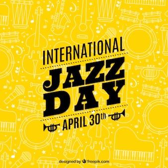 Gele internationale jazz dag achtergrond met schetsen