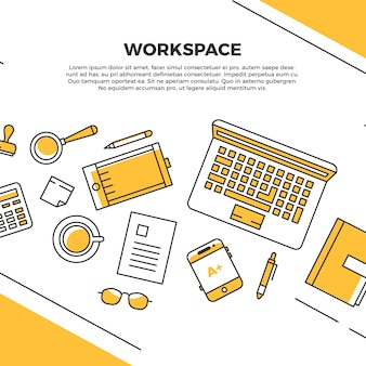 Gele platte werkruimte
